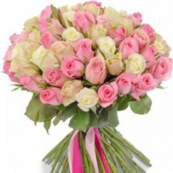 50 Endearing Pink and White Roses Bunch