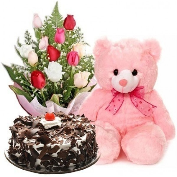 Black  Forest Cake with 12 Mix Roses Bunch and a 6 Inch Teddy Bear