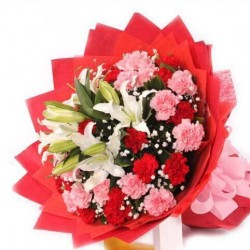 30 Pink + Red Carnation+ Lilly Bunch