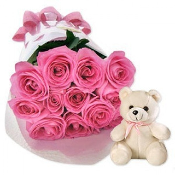 15 Pink Roses with Teddy Bear