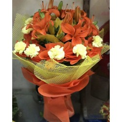 Asiatic lilies and carnation flower Bunch
