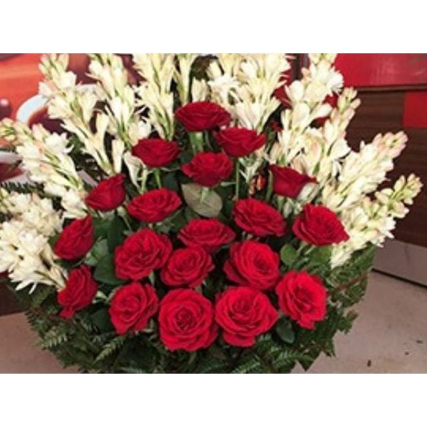 Red Roses + Rajnigandha flower with Basket