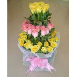 70 Pink and Yellow Roses Bunch