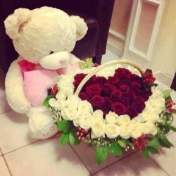 Heart Shaped 10 Inch Teddy Bear, 50 Red and white Roses