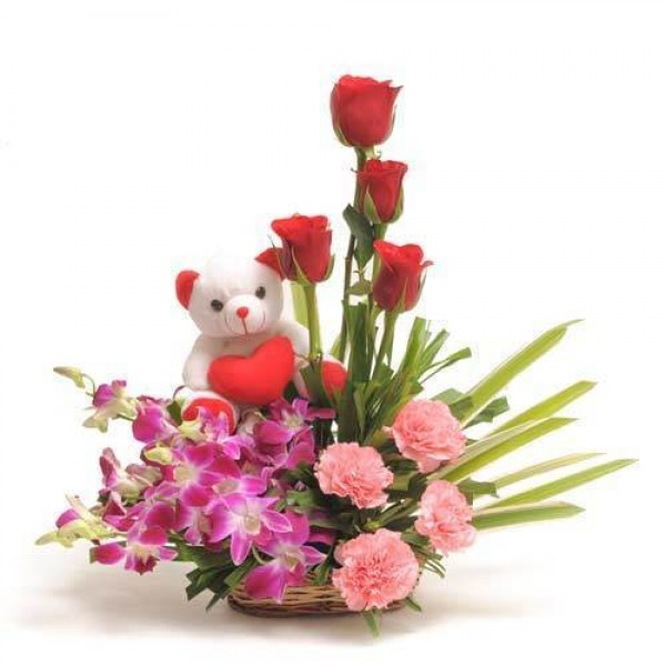 4 Pink Carnation + 4 Red Roses + 4 Orchids + 6 inch Teddy Bear