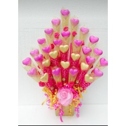 Customized Chocolate Bouquet - 30 Heart Shape Chocolates