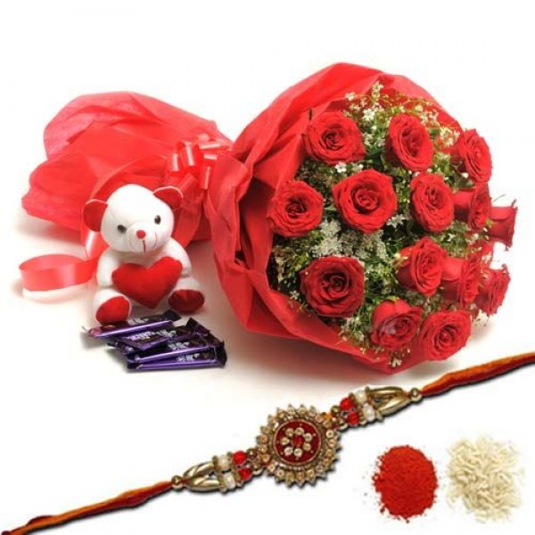 15 Red roses bouquet with Teddy Bear - Raksha Bandhan Special