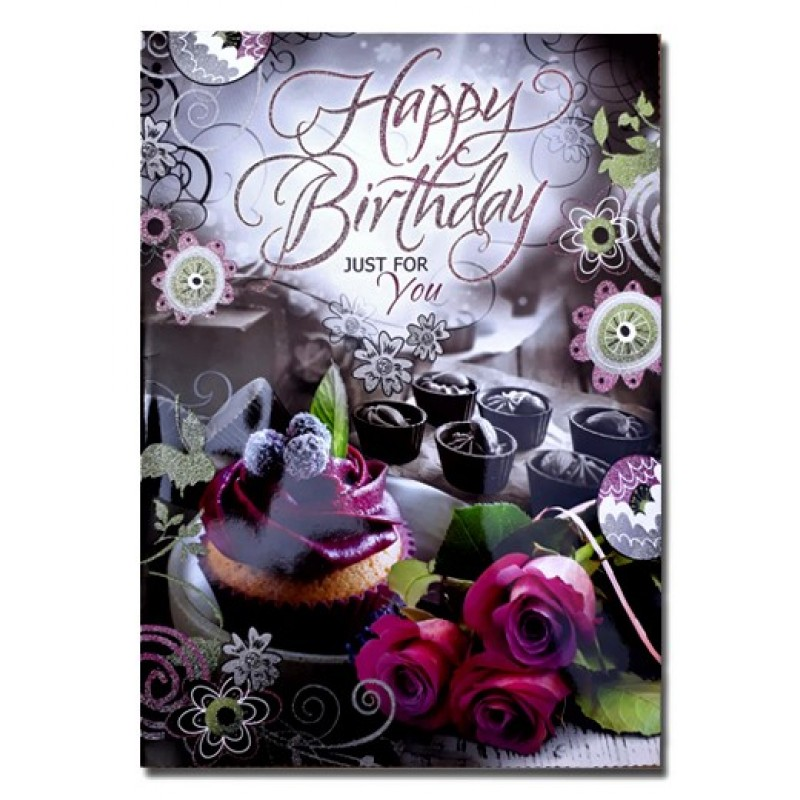 Happy Birthday Just For You Greeting Card Multicolor Pack Of 1